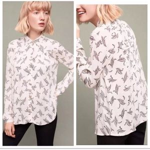MAEVE Feather leaf button down blouse sz 4 Anthro